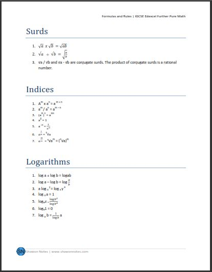 IGCSE Further Pure Mathematics - Shawon Notes